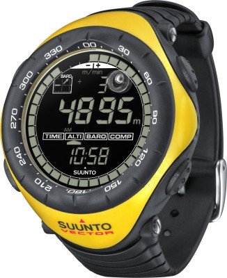 Suunto SS010600610 Vector Digital Black & Yellow Smartwatch (Black Strap)