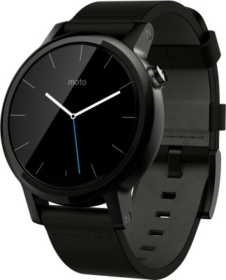 Motorola Moto 360 2nd Gen (42 mm) for Men Black Leather Smartwatch (Black Strap S)