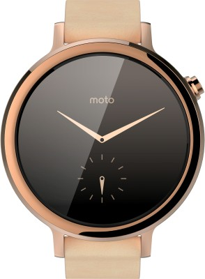 Motorola Moto 360 2nd Gen (42 mm) for Women Blush Leather Smartwatch (Gold Strap S)
