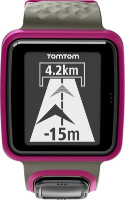 TomTom 1RR0.001.01 Runner Digital Watch Black & Dark Pink Smartwatch (Black, Pink Strap)