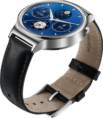 Huawei Stainless Steel with Black Leather Strap Smartwatch (Black Strap)