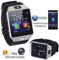 HealthMax With SIM Card, 32GB Memory Card Slot, Bluetooth And Fitness Tracker 02-SR Silver Smartwatch (Black Strap)
