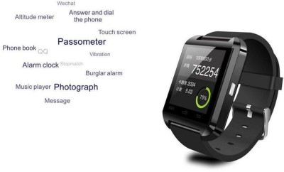 PI U WATCH Black Smartwatch (Black Strap)