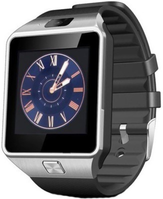 crushacc dz09 smart watch silver,black Smartwatch (Black Strap)