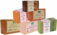 Khadi Haldi-Chandan Aloe-Vera Khas Papaya Orange Strawberry Soaps - Combo Pack Of 6 - Premium Handcafted Herbal (750 G)