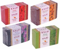 Khadi Mauri Rose Almond Lime-Lavender Khas Soaps - Combo Pack Of 4 - Premium Handcafted Herbal (500 G)