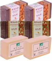 Khadi Almond, Strawberry & Aloe-Vera Double Pack Soaps - Combo Pack Of 6 - Premium Handcafted Herbal (750 G)