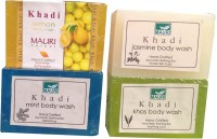 Khadi Mauri Jasmine Lemon Khas Mint Soaps Pack Of 4 Herbal Ayurvedic Natural (500 G)