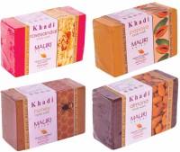 Khadi Rose-Sandal Papaya Honey Almond Soaps - Combo Pack Of 4 - Premium Handcafted Herbal (500 G)