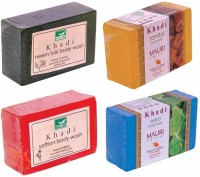 Khadi Mauri Neem-Tulsi Sandal Saffron Mint Soaps - Combo Pack Of 4 - Premium Handcafted Herbal (500 G)