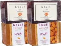 Khadi Mauri Almond & Oat Soaps Twin Pack Of 4 Herbal Ayurvedic Natural (500 G)