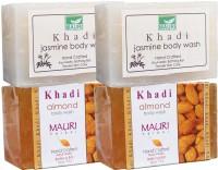Khadi Mauri Almond & Jasmine Soaps Twin Pack Of 4 Herbal Ayurvedic Natural (500 G)