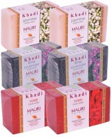 Khadi Mauri Jasmine, Lime-Lavender & Rose Double Pack Soaps - Combo Pack Of 6 - Premium Handcafted Herbal (750 G)