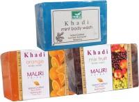 Khadi Mauri Orange Mix-Fruit Mint Soaps Pack Of 3 Herbal Ayurvedic Natural (375 G)
