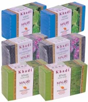 Khadi Mauri Mint, Lime-Lavender & Khas Double Pack Soaps - Combo Pack Of 6 - Premium Handcafted Herbal (750 G)