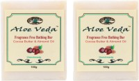 Aloe Veda Fragrance Free Bathing Bar - Cocoa Butter & Almond Oil - Pack Of 2