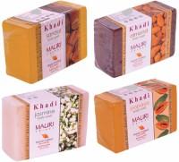 Khadi Mauri Sandal Almond Jasmine Papaya Soaps - Combo Pack Of 4 - Premium Handcafted Herbal (500 G)
