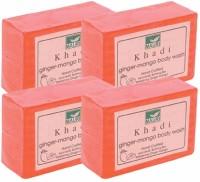 Khadi Mauri Ginger Mango Soap - Pack Of 4 - Premium Hand Crafted Herbal (500 G)