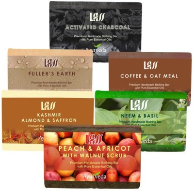 Lass Naturals Scrub Pack Of Soaps ( Activated Charcol,Almond And Saffron Milk,Peach And Apricot,Neem And Basil,Coffee And Oat,fullers Earth ) (750 G)
