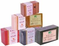 Khadi Mauri Neem-Tulsi Rose Lime-Lavender Jasmine Haldi-Chandan Honey Soaps - Combo Pack Of 6 - Premium Handcafted Herbal (750 G)