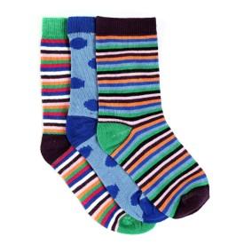 Renzer Women's Polka Print, Striped Knee Length Socks (Pack Of 3)