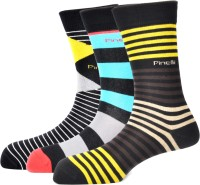 Pinellii Men's Striped Crew Length Socks - Pack Of 3