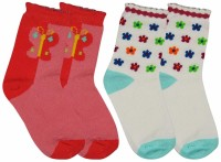 Ollington St. Collection Baby Girl's Printed, Floral Print Quarter Length Socks - Pack Of 2