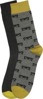 Renzer Men's Graphic Print Knee Length Socks - Pack Of 2