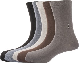 Arrow Men's Solid Crew Length Socks Pack Of 5