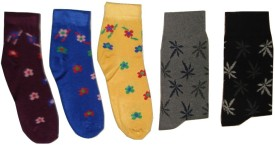 Well Wear Women's Printed Ankle Length Socks, Crew Length Socks Pack Of 5