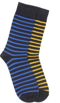 Stop By Shoppers Stop Men's Striped Crew Length Socks Pack Of 2