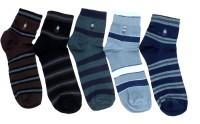 Gen Men's Striped Ankle Length Socks - Pack Of 5