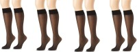 Anfanna Women's Solid Knee Length Socks Pack of 4