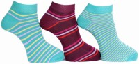 A&G Women's Striped Ankle Length Socks - Pack Of 3