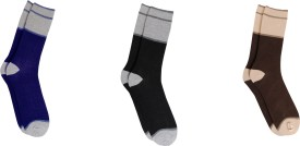 Bs Spy Striped Cotton Lykra Stretchable Pack Of 3 Men's Striped Crew Length Socks Pack Of 3