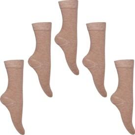 Snoozyshoppers Women's Self Design Mid-calf Length Socks Pack Of 5