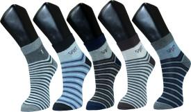 Gen Men's Striped Ankle Length Socks (Pack Of 5)