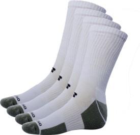 Ultimate White Grey Full Length Men's Solid Knee Length Socks Pack Of 4