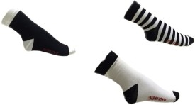 Black Magpie Black White Combo Men's Solid Ankle Length Socks Pack Of 3