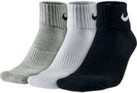 Nike Performance Cushion Quarter Unisex Men's Solid Ankle Length Socks Pack Of 3