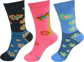 Jack & Ginni Women's Self Design Mid-calf Length Socks Pack Of 3