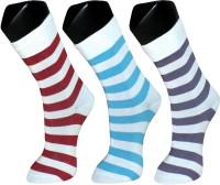 Vinenzia Men's Striped Crew Length Socks - Pack Of 3