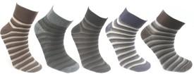 YellowMellow Men's Striped Ankle Length Socks (Pack Of 5)