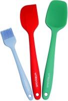 WhitePavo 3 Pcs Set Includes Blue Basting Brush, Red Scrapper & Green Non-Stick Spatula (Pack Of 3)