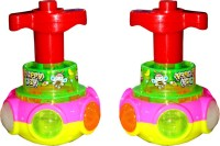 Scrazy Magical Spinning Lights Lightning Rotate Unfolds Colourful Top Set Of 2 (Multicolor)