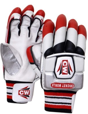 CW Skipper Batting Gloves (Free Size, White, Red, Black)