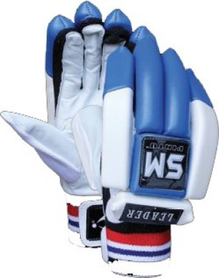 SM Leader Batting Gloves (Men, White, Blue)