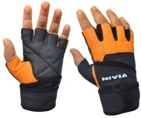 Nivia Pro Wrap Gym & Fitness Gloves (S, Black, Orange)