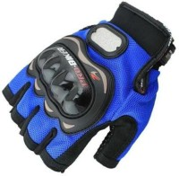 Motoway Pro Bike Half Cut Racing Motorcycle 03 Riding Gloves (XL, Blue)