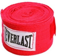 Everlast Hand Wraps For Boxing Gloves (Free Size, Red)